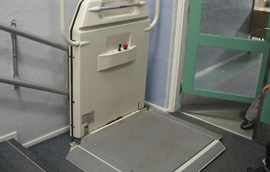 Inclined Wheelchair Lift in a school